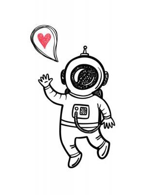 Sticker Vecteur, Illustration, griffonnage, astronaute