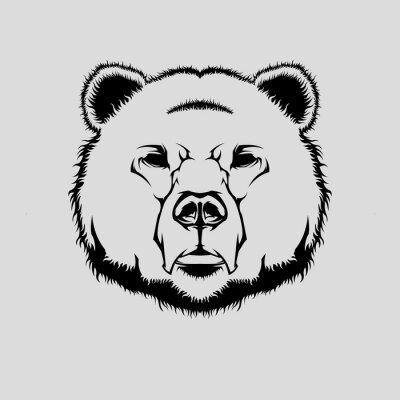 Sticker Vecteur, Illustration, grizzly, ours, tête