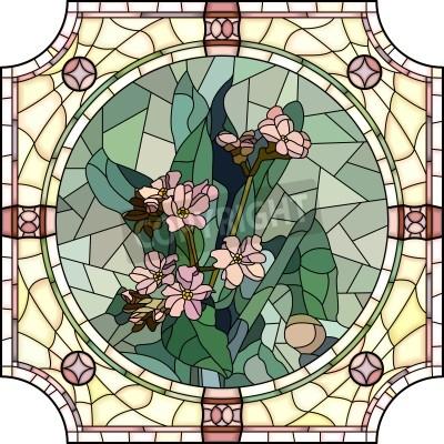 Sticker Vecteur mosaïque avec de grandes cellules de fleurs forget-me-not avec des bourgeons en rond cadre de vitrail.