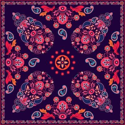 Sticker Vecteur, Paisley, floral, carré, conception