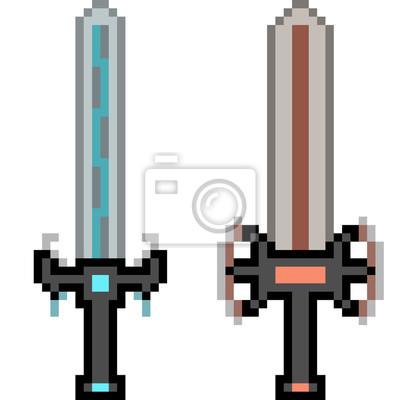 Sticker Vecteur Pixel Art Arme épée