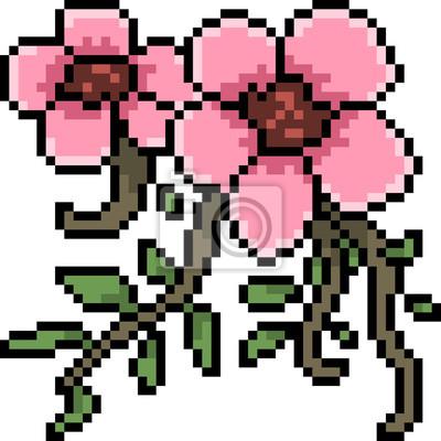 Sticker Vecteur Pixel Art Fleur Rose