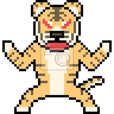 Sticker Vecteur Pixel Art Sauvage Tigre