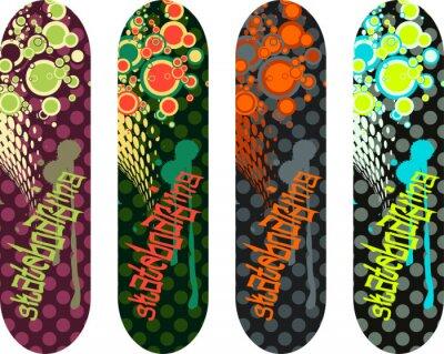 Sticker Vecteur, planche à roulettes, conception, paquet, Graffiti, étiquettes, résumé, formes
