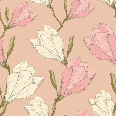 Sticker Vecteur Rose Vintage Magnolia Fleurs Tissu Rétro Répétition Seamless Pattern Hand Drawn In Botanical Style. Parfait pour tissus, Papier peint, Conditionnement, Fond, Cartes de vœux.