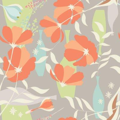 Sticker Vecteur, seamless, modèle, floral, éléments, ressort, fleurs, po