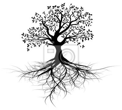 Sticker vecteur série, arbre Avec racines vectoriel noir