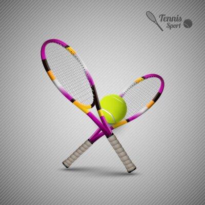 Sticker Vecteur, tennis, symboles, conception, éléments, tennis, balles