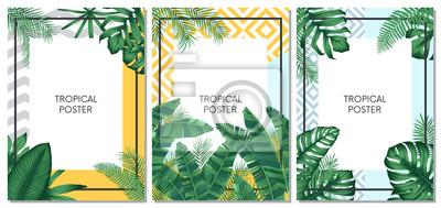 Sticker Vecteur tropical été scénographie pour cartes, affiches ou flyer avec des feuilles de palmier exotiques