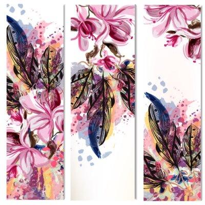 Sticker Vecteur, vertical, brochures, ensemble, magnolia, fleurs, plumes