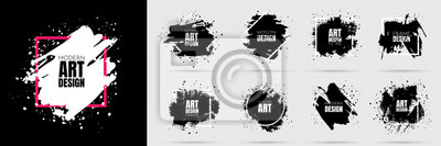 Sticker Vector background for text. Grunge banners set. Black paint. Brush ink stroke. Isolated square white frame. Element for design poster, cover, invitation, gift card, flyer, social media, promotion.