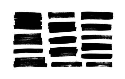 Sticker Vector black paint, ink brush strokes, rectangular shapes. Dirty grunge design elements, rectangle or background for text. Grungy black smears or rough lines. Hand drawn grunge ink illustration