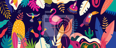 Sticker Vector colorful illustration with tropical flowers, leaves, flamingo and birds. Brazil tropical pattern.
