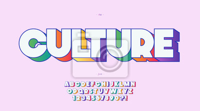 Sticker Vector culture font 3d bold color style trendy typography