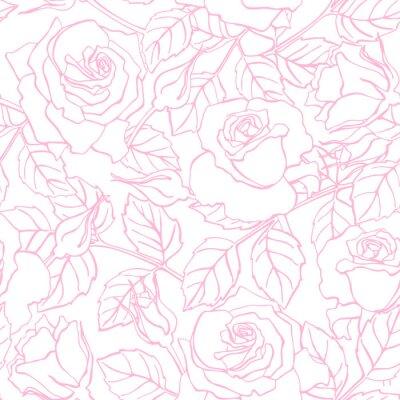Sticker Vector delicate line rose pattern.