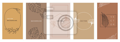 Sticker Vector design templates in simple modern style with copy space for text, flowers and leaves