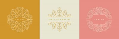 Sticker Vector design templates in simple modern style with copy space for text, flowers and leaves - wedding invitation backgrounds and frames, social media stories wallpapers