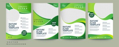 Sticker Vector eco flyer, poster, brochure, magazine cover template. Modern green leaf, environment design. - Vector