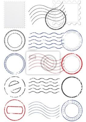 Sticker Vector ensemble de différentes cachet de la poste et des timbres.