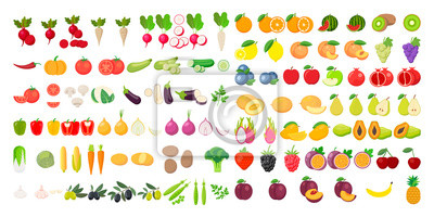 Sticker Vector fruits and vegetables icon set isolated on white background. Vector illustration.