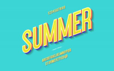 Sticker Vector fun summer font 3d bold color style modern typography for decoration, logo, poster, t shirt, book, card, sale banner, printing on fabric, industrial. Cool typeface. Trendy alphabet. 10 eps