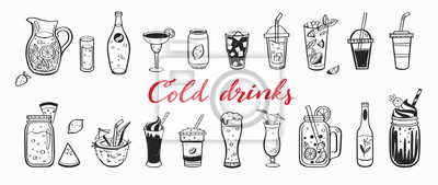 Sticker Vector hand drawn set of Cold drinks, summer cocktails and beverages with fruits. Various doodles for beach party, bar, restaurant menu. Isolated objects