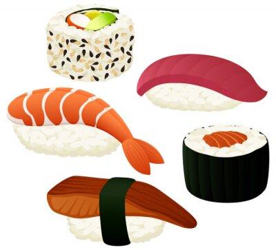 Sticker Vector illustration d'une variété de sushis.