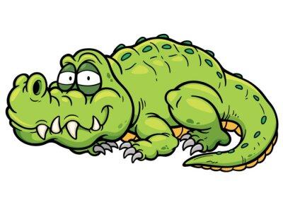 Sticker Vector illustration de crocodile bande dessinée