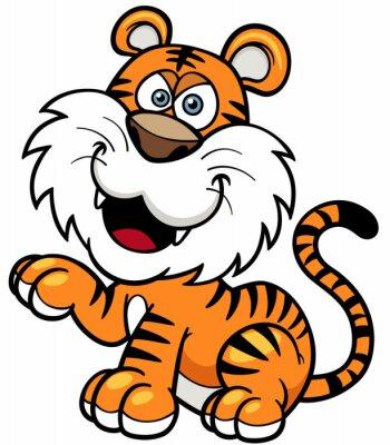Sticker Vector illustration de tigre de bande dessinée