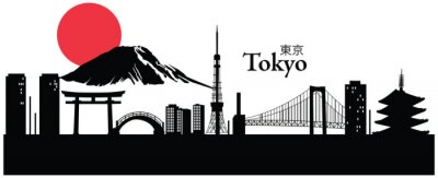 Sticker Vector illustration du paysage urbain de Tokyo, Japon