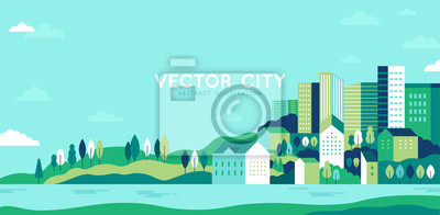 Sticker Vector illustration in simple minimal geometric flat style - city landscape with buildings, hills and trees - abstract horizontal banner