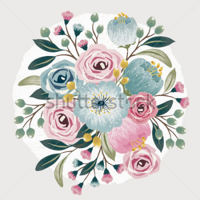 Sticker Vector illustration of a beautiful floral bouquet with spring flowers for invitations and birthday cards
