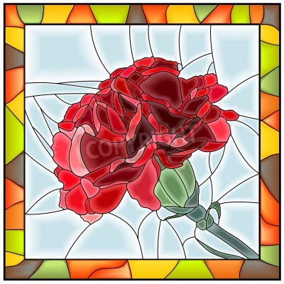 Sticker Vector illustration of flower red carnation stained glass window with frame