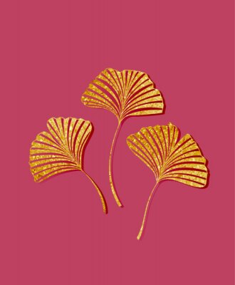 Sticker Vector illustration of ginkgo biloba leaves. Background with golden leaves. Ginkgo branches for invitations