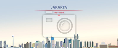 Sticker Vector illustration of Jakarta city skyline on colorful gradient beautiful day sky background with flag of  Indonesia