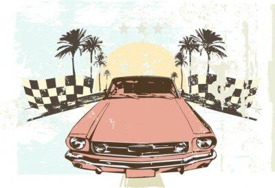 Sticker Vector illustration - voiture de course à haute vitesse sur le fond grunge