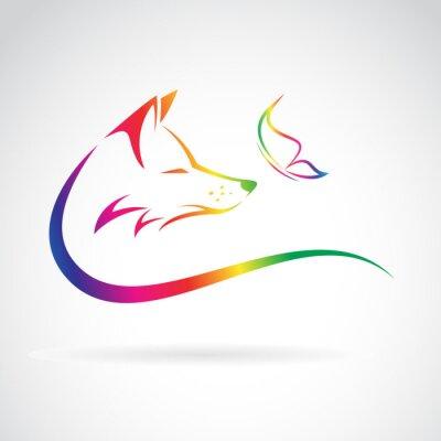 Sticker Vector image du renard et papillon sur fond blanc