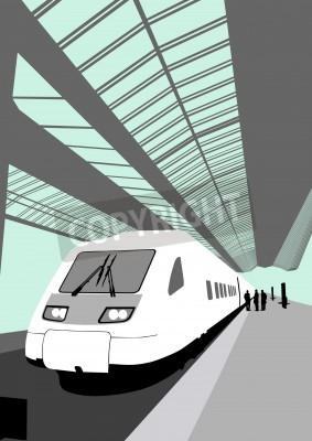 Sticker Vector image of a modern high-speed train at the railway station