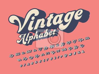 Sticker Vector of groovy hippie style alphabet design