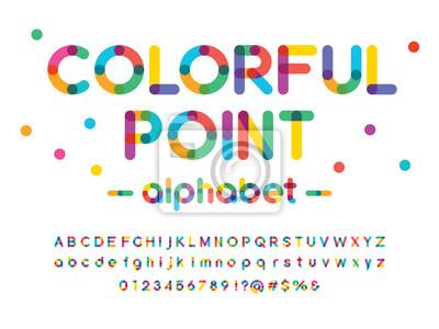 Sticker Vector of modern colorful alphabet design