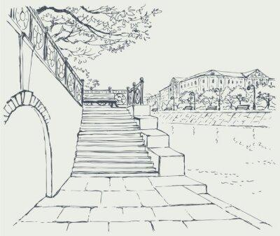 Sticker Vector paysage urbain. Un vieux quai de pierre. Étapes de la ruelle