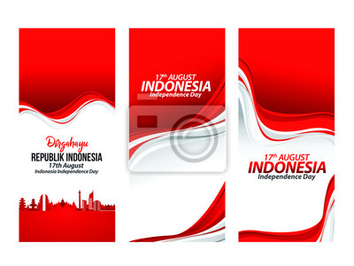 Sticker Vector red color Flat design, Illustration of flag for poster. 17th August Indonesia Independence Day concept.