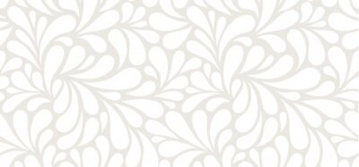 Sticker Vector seamless beige pattern with white drops. Monochrome abstract floral background.