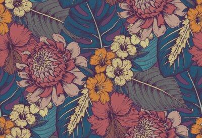 Sticker Vector seamless pattern avec des compositions de fleurs tropicales dessinées à la main