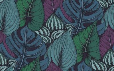Sticker Vector seamless pattern avec des compositions de plantes tropicales dessinées à la main