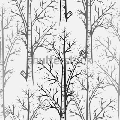 Sticker Vector Seamless Pattern d'arbre de bouleau gris
