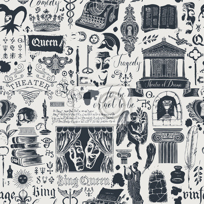 Sticker Vector seamless pattern on the theme of theater and drama with hand-drawn illustrations and inscriptions. Suitable for Wallpaper, wrapping paper, background or fabric in vintage style