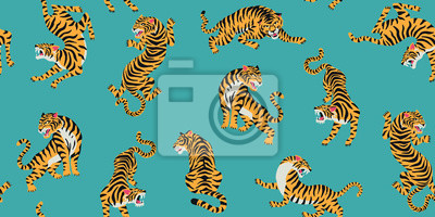 Sticker Vector seamless pattern with cute tigers on background. Fashionable fabric design.
