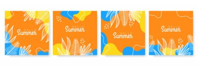 Sticker Vector set of colourful social media stories design templates, backgrounds with copy space for text - summer landscape. Summer background with leaves and waves