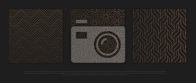 Sticker Vector set of design elements, labels and frames for packaging for luxury products in trendy linear style.